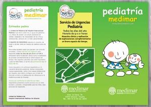 Diseño gráfico de folleto tríptico de pediatría medimar alicante