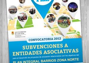 Diseño gráfico de cartel subvenciones de actividades Plan integral zona norte de alicante